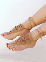 Hotel Shoe Decorations Neutral Fashion jewelry,Crochet Chocolate barefoot sandals,nude shoes,foot jewelry,sexy anklets,victorian lace,brown beach pool shoes.8pairs 16pcs