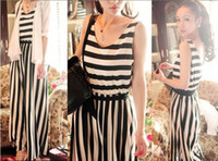 Casual Dresses Strapless A Line dresses Vintage White Black striped jumpsuit for women rompers Off shoulder Strap bodysuit Sexy elastic fashion overalls 2013 Freeship