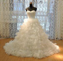 Wholesale new fashion hot ball gown organza long vestido de noiva romantic robe de mariage fashionable wedding dress bridal gown