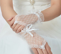 Wholesale Chic Fingerless Wedding Prom Evening Party Dress White Lace Short Bridal Gloves Q