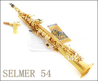 Wholesale French Selmer High pitch Soprano Saxophone One Piece Straight B Flat Saxe Top Musical Instrument