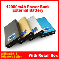 Best 10pcs lot 12000mah LCD Power Bank With Universal Dual USB Outputs External Backup Battery charger OEM+4 Connector+usb cable+ Retail Box