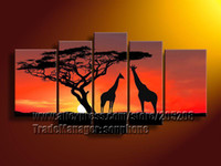 Abstract   Wholesale - Framed 5 Panels Sunset Tree Oil Painting Giraffe African Modern Canvas Art Wall Decorations S0150
