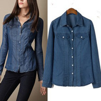 Women Cotton Button shirt plus size women clothing versae european style oversized spring 2014 vintage blue denim office workwear business tops peplum top