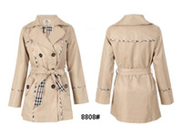 Wholesale Brand New Fashion Women Dust Coat British Style Designer Double Breasted Trench Coats Beige Outwear M XXL