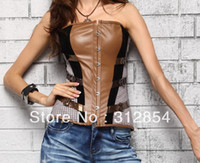 Women Bodysuit Bustiers & Corsets High Quality Leather Oxford Patterns Corsets For Women Brown Overbust Plaid UK Denim Body Slimming Shaper Wear Camisoles Tops