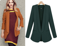 Jackets Women Polyester new 2013 runway long blazers for women orange green black plus size slim design business office lacy suits blaser tops outwear