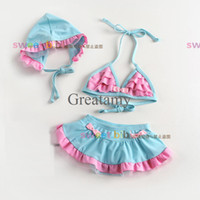 Girl cute style 2-7T baby swimwear baby girls beauty bathing suit blue lace bikini hanging neck swimsuit 2-7Y Baby Girl Swim Skirt Hat + Lace Tutu Sample Support