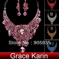 Wholesale 2014 pc Red Pink Grey Blue Crystal Light Amethyst Topaz Wedding Earring Necklace Jewelry Set WA443