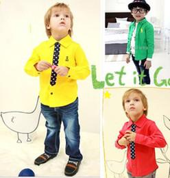 Wholesale 2014 New Arrival Children T shirt British Fashion Children s Polo Shirts Kids Long Sleeve Tee Tops Solid Plain Colors Boys Shirts B3034