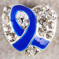Metals   25pcs lot Clear Crystal Rhinestone Heart Blue Enamel Ribbon Breast Cancer Awareness Charm European Beads For Bracelet Chain Jewelry Findings