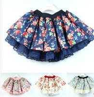 2014 Summer Kids TUTU Skirt Flowers Printed 4 Layered Pompon...