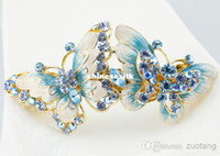 Barrettes & Clips Women's Gift New 2014 Bling Big Butterfly Hair Accessories Bridal Hair Clips Cloisonne Enamel 18k gold plated Austrian Rhinestone Crystal Hairpin Jewelry