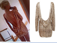 Wholesale BH Fashion Major Halter Back Luxury Sequins Sexy Dress Open Back Long Sleeve Backless Bodycon Party Dress