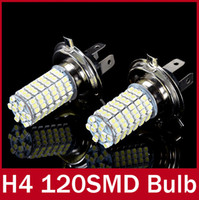 Light Sourcing 12V External Lights 2 x Xenon White Parking H4 LED 12V Light Car LED Fog Daytime Running Light Bulbs Lamp 12V High Power Bright White 120 SMD Truck