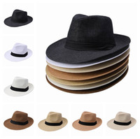Wholesale New Wide Brim Hats Unisex Men Women Cap Popular Solid Straw Hat Panama Fedora Cap DUP