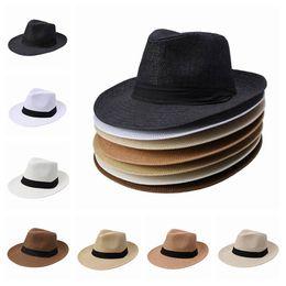 New Wide Brim Hats Unisex Men Women Cap Popular Solid Straw Hat Panama Fedora Cap DUP