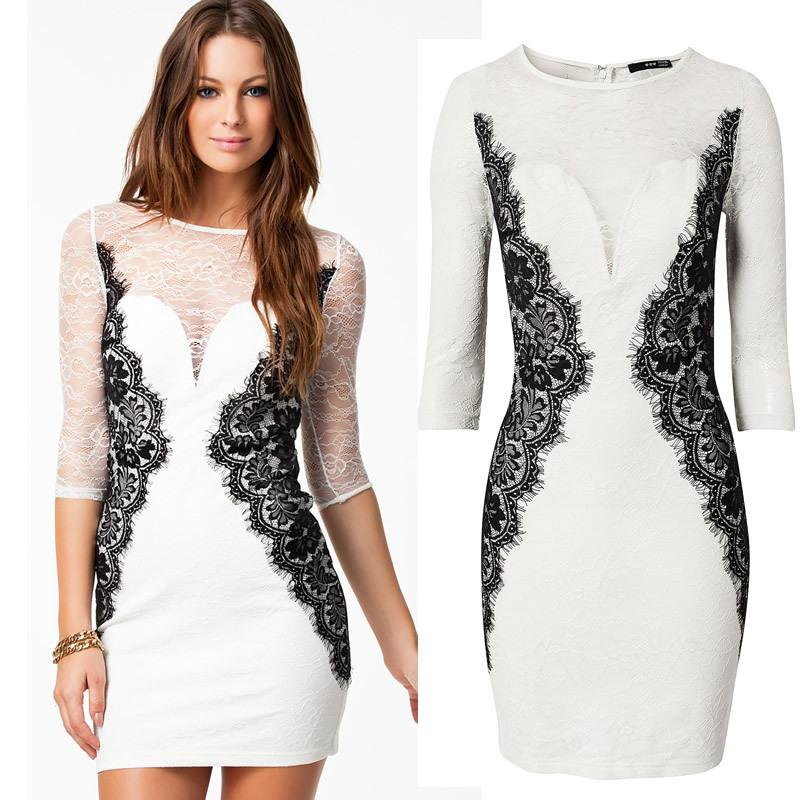 Bh Dresses New Fashion 2014 Women Sexy Bodycon White Elegant Full ...