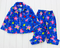 Boy Spring/Autumn 1,2,3,4,5 yrs 2014 New free shipping peppa pig george pig long sleeved top + pants flannel flannelette winter pyjamas pajamas sleepwear pjs