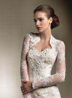alexander longing - Vintage Lace Long Sleeves Wedding Jacket Wraps Bridal Jacket Bolera Capelet Bridal Accessories Justin Alexander