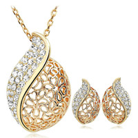 Earrings & Necklace Gold Plate/Fill Party High quality Newest Gold Plated Leaves Fashion Costume Jewelry Set