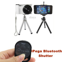 Wholesale iPega Bluetooth Remote Control Self timer Shutter Digital Camera Mini Tripod Cell Phone Holder For iPhone Samsung iPad