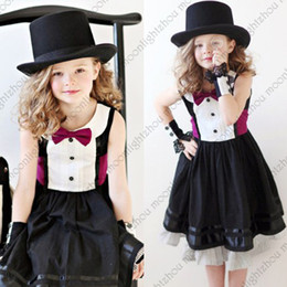Wholesale new Jazz style gentleman black dress with rose tie bow belt kids girls dress girl party dress casual baby dress tcq