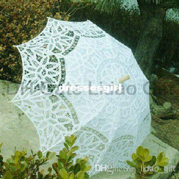 Wholesale Vintage Battenberg Lace Parasol Sun Umbrella in Multi Colored Cotton Handmade for Wedding High Quality New Ar