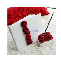 Wholesale Bold Red Luxury Rose Lined Wedding Guest Book and Pen Set Wedding Favors