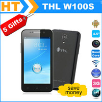 "4.7 Android 1G Free Shipping! Original THL W100s MTK6582 Quad Core 1.3GHz Android 4.2 4.5"" QHD Screen 8.0MP Camera 3G Smart phone Flip Case"