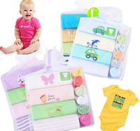 Wholesale EMS Lovely Infant Romper Baby Boys Girls Layette Sets Toddle Kids Clothes Jumpsuit Body Suit Washcloth Towel Cute Newborn Gift Sets C1369