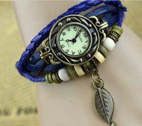 Wholesale Fashion Quartz Bracelet Retro watch Lady Womens Girl Weave Wrap Around Genuine Leather Watch with Tree leaf Pendant