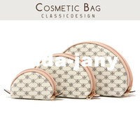 Cosmetic Cases Geometric Fashion 2014 Stylish romantic beige shell powder cosmetic bag storage bag coin case picture package triangle set 3pieces set