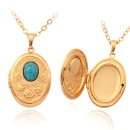 Vintage Oval Turquoise Photo Locket Pendants 18K Gold Plated Choker Necklace Charms Floating Lockets Jewelry Wholesale MGC P214