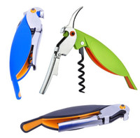 Wholesale 20pcs Parrot Bottle Opener wine knife Hippocampal Knife Stainless Steel Corkscrew For Cans Jars Red Wine Beer Bottles Openers BAR Tools