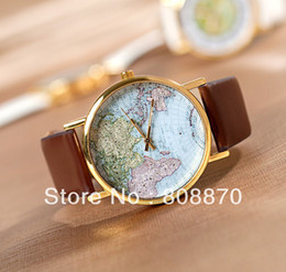 Unisex quartz Watch Map printing picture alloy women rose gold dial dress watch men analog wristwatches
