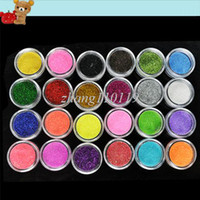 Full Natural Tips Square  Nail Tips 2012 New Arrival 24 Colors Metal Shiny Acrylic Nail Powder Glitter Dust Kit UV Stamp Art Tool 3069
