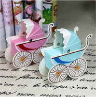 Wholesale 2014 New Baby carriage favor candy box for baby shower newborn birth party paper gifts chocolate packing Express