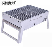 Ceramic Disposable Grills 2013 NEW !35*27*20cm Outdoor Stainless steel Hiking camping Charcoal Grill Picnic BBQ Grill for Barbecue & Sliver