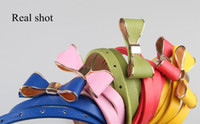 Wholesale Fashion Women Candy Color Big Bowknot PU Leather Thin Skinny Waistband Belt cute Candy Colors Waist Belt Colours