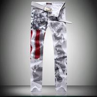Men 100% cotton plus size - American Flag Men Jeans Cotton men s Clothing regular large plus size original design