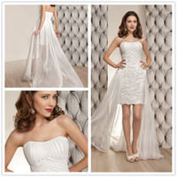 Wholesale short beach wedding dresses2014 High Low Hi Lo Wedding gowns Hote sale Sexy Strapless Mini Bridesmaid Dresses Organza Lace homecoming dress