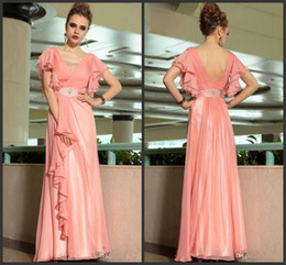 2015 newest chiffon new design fashion A-line floor length mother of the bride dresses v-neck beads crystal ruffle custom made high quality