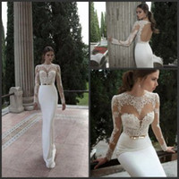 Wholesale 2016 Hot Selling Berta Lace Wedding Gown Sheer Bateau Backless Long Sleeve Satin Sweep Train Sheath Wedding Dresses with Bow on the Waist