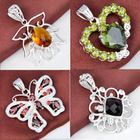 multicolor fashion jewelry 925 silver crystal girl pendant 4...