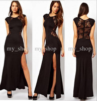 Wholesale 2014 New arrival sexy black lace formal evening women casual dresses ankle length cap sleeves side slit prom party gowns work dresses BO5362