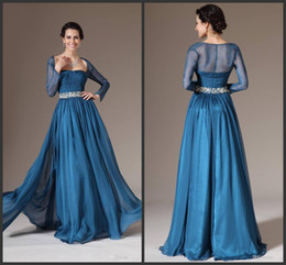 2014 blue chiffon floor length square long sleeve mother of the bride dresses floor length ruffle sequins free shipping custom made simple