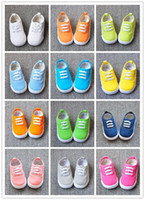 Wholesale 1 Years Baby Girls Boys Candy Color Canvas Plain Shoes Kids First Walker Shoes Solid Trainer Baby Foot Wear Kids Shoes B3036