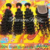 Wholesale Price Bundles Mix Peruvian Virgin Human Hair Weft And Top Lace Closure quot x4 quot Deep Wave Virgin Hair Weave