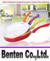 Wholesale LLFA4298 Free cm Ceramic Pan Aluminum Alloy Material Ceramic Coating Inside CE FDA Certificate Color Frying Pan pc Dish Towel Gift